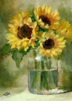 "Daily Paintworks - ""Sunflowers"" - Original Fine Art for Sale - © Linda Jacobus"