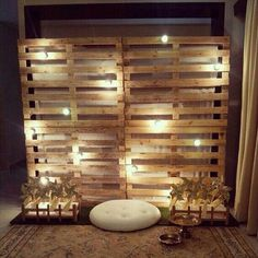trendy ideas for wedding backdrop pallet wall Pallet Backdrop, Diy Backdrop, Backdrop Lights, Rustic Backdrop, Palettes Murales, Diy Fotokabine, Deco Champetre, Lighted Branches, Palette Diy