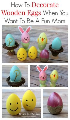Painted wooden eggs are the perfect decoration for spring and Easter. Place cards, egg cups and cute chicks and bunnies will decorate the Easter brunch table in style.