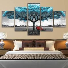 Us 55 Living Room Wall Art Pictures Hd Printed Home Decor 5 Panel Blue Big Tree Red Chair Modern Painting On Canvas Poster Framework In Painting Amp Tree Wall Decor, Diy Wall Decor, Home Decor, Tree Canvas, Canvas Wall Art, Canvas Canvas, Canvas Poster, Framed Canvas, Canvas Prints