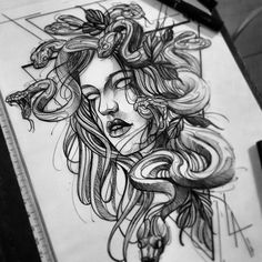 Medusa Tattoo Design, Tattoo Design Drawings, Tattoo Sketches, Tattoo Designs, Cute Tattoos, Leg Tattoos, Body Art Tattoos, Sleeve Tattoos, Tatoos