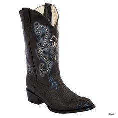 Ferrini Mens Print Caiman Croc RToe Boot 10D Blk: FERRINI USA INC #Horse #Horses #Pets #Equestrian #Rider