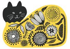 【Flower cat】#illust #textile #design #猫 #cat #イラスト #北欧デザイン #北欧イラスト #テキスタイル Linocut Artists, Yellow Cat, Screenprinting, Cat Lady, Scandinavian Design, Textile Design, Pattern Design, Scenery, Textiles