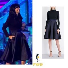 7e7abf9967 Claudia Winkleman knit and satin navy dress Strictly Come Dancing November  2017 Claudia Winkleman