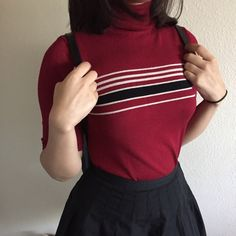 | New | 90s Striped Red Turtleneck Pair this turtleneck with a black tennis skirt, black knee socks, and Mary Janes for an adorable schoolgirl look  〰• Size M • Plenty of stretch • Great condition 〰 Vintage Tops