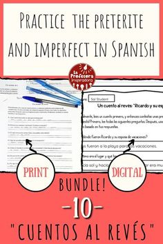 """Practice the preterite and the imperfect with this twist on a traditional classroom activity! A """"cuento al revés"""" is a creative writing activity that also reinforces key grammatical concepts and… More Spanish Lesson Plans, Spanish Lessons, Teaching Spanish, Spanish Grammar, Spanish Vocabulary, Spanish Classroom, Vocabulary Activities, Writing Activities, Classroom Activities"""