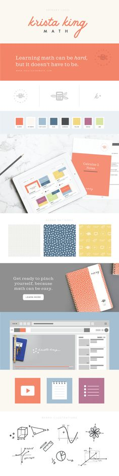 Krista King Math brand design | Collaboration between Spruce Rd and Pace Creative Design Studio