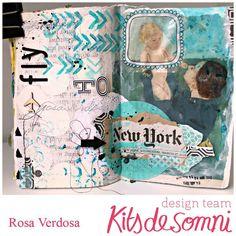 rosa verdosa, art journal, blue, new york