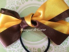 ハンドメイド サテンリボンヘアゴム♡ ブラウン&イエローのバイカラーがオシャレ♡  http://s.ameblo.jp/bouquet-de-coeur/  Handmade ribbon hair accessory! Brown and yellow satin ribbon
