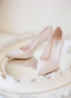 CHIC + PINK Any bride would wear these beauties for years to come; from the shade of blush to their shape, these pumps are timeless by Miu Miu Blush Pink Wedding Shoes, Blush Pink Weddings, Wedding Heels, Bridal Shoes, Blush Shoes, Chic Wedding, Pastel Shoes, Turquoise Weddings, Wedding App