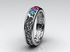 Mother's ring | Celtic Style Mothers Ring With Four 3mm Natural Birthstones