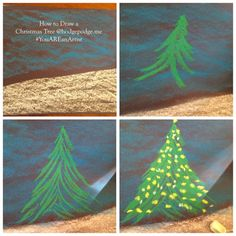 Enjoy a glowing Christmas tree chalk art tutorial and make a dreamy Christmas scene with your artists. The perfect art project to celebrate the season. Christmas Tree Drawing, Christmas Art, Christmas Projects, Xmas Crafts, Christmas Ideas, Chalk Pastels, Soft Pastels, Chalkboard Art, Kitchen Chalkboard
