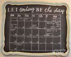 Get organized with this DIY Chalkboard Calendar.  {Includes templates and tutorial!}