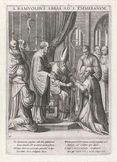 Raphaël Sadeler (I) | Heilige Ramwold wordt tot abt van Sankt Emmeram benoemd, Raphaël Sadeler (I), Johann Mathias Kager, Matthäus Rader, 1615 | De H. Ramwold zit geknield voor de bisschopszetel van de H. Wolfgang, bisschop van Regensburg. Hij wordt tot abt van Sankt Emmeram benoemd. De prent heeft een Latijns onderschrift en is de 46ste prent van een 60-delige serie met als onderwerp de heiligen van Beieren.
