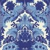A sophisticated, feathery and floral column damask in bright shades of blue, highlighted with a textured dark blue glitter.  Please request sample for colour match. Paste the wall.