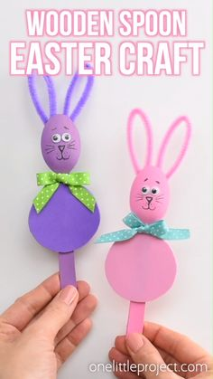 Wooden Spoon Easter Craft - Bunnies and Chicks! - - Wooden Spoon Easter Craft – Bunnies and Chicks! Grundschule Wooden Spoon Easter Craft – Bunnies and Chicks! Easter Art, Bunny Crafts, Easter Crafts For Kids, Toddler Crafts, Preschool Crafts, Easter Eggs, Craft Kids, Kids Diy, Rabbit Crafts