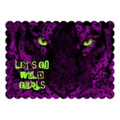 Let';s Go Wild Girl's Fun Bachelorette Party - Hen Party - Girly night out - party invitations purple, animal print