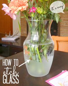 This is a great glass etching tutorial.  Glass vessels are found at the resale shops for pennies, with a little etching artwork we can turn them into masterpieces! I especially like the idea of etching our monogram on wine glasses (a touch of class!) and our on casserole dishes for potlucks.  We'll surely always get them back!!