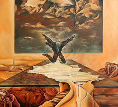 Levels of time Size: 90 x 100 cm, oil on woodfibre