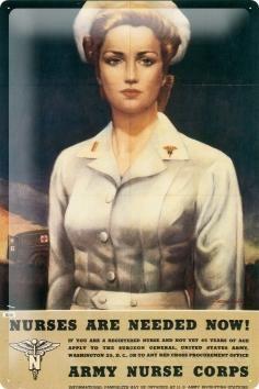 Blechschild Plakat Sicherheit Rekrutierung Büro US Krankenschwester