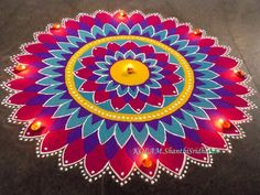 Colorful rangoli design by shanthi sridharan Diwali Special Rangoli Design, Easy Rangoli Designs Diwali, Rangoli Designs Latest, Simple Rangoli Designs Images, Rangoli Designs Flower, Free Hand Rangoli Design, Colorful Rangoli Designs, Rangoli Ideas, Kolam Rangoli