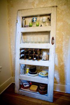 Vintage Door Repurposed  Bookshelf- Kitchy