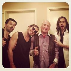 Our good friend Buzz Aldrin stopped by for our performance on Jimmy Kimmel Live yesterday! Watch it TONIGHT on ABC at PM PT! Thirty Seconds, 30 Seconds, Buzz Aldrin, Jimmy Kimmel Live, Life On Mars, Shannon Leto, Jared Leto, Cool Bands, Hot Guys