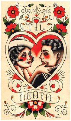 Marin Vintage & amant til Death tatouage par MissMartinTattoos, $20.00