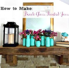 Beach Glass Painted Jars