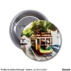 Trolley in Lisboa Portugal - Lisbon Streetcar 2 Inch Round Button