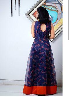RadhikAnurag ❤️ Reuse Ur old sarees - seyis Long Gown Dress, Lehnga Dress, Frock Dress, Kalamkari Dresses, Ikkat Dresses, Sari Blouse Designs, Dress Neck Designs, Kurta Designs Women, Salwar Designs
