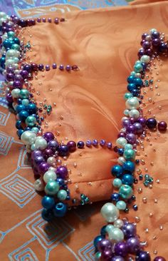 ^ What an elegant design for so much color. I can just imagine pearls and crystals on black or white velvet. Zardozi Embroidery, Pearl Embroidery, Tambour Embroidery, Bead Embroidery Patterns, Ribbon Embroidery, Embroidery Designs, Lesage, Fabric Beads, Ribbon Work