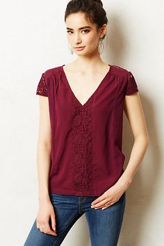 Cut too boxy for me but liked the lace top at the back! ---------------------------------Micaela Tee #anthropologie