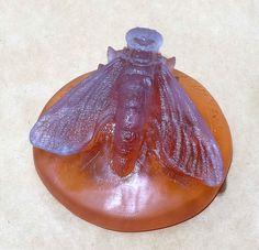 Art Glass Pate de Verre Crystal Nancy Walter, Berge Art Nouveau Paperweight Moth