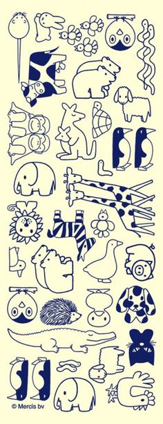 Animal embroidery patterns by illustrator #dick #bruna Pinning for the penguins and the polar bears                                                                                                                                                      More