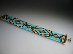 Beaded Hat Bands, Beaded Cuff Bracelet, Bead Loom Bracelets, Beaded Jewelry, Loom Bracelet Patterns, Bead Loom Patterns, Native Beading Patterns, Seed Bead Tutorials, Aztec Designs
