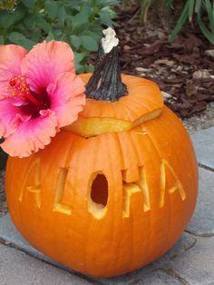 Aloha Hawaii Pumpkin Jack-O-Lantern! For a Halloween with Aloha!