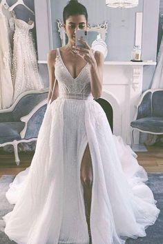 Flapper Wedding Dresses, Slit Wedding Dress, Wedding Dresses With Flowers, Sequin Wedding, Dream Wedding Dresses, Bridal Gowns, Dress Prom, Detachable Skirt Wedding Dress, Short Girl Wedding Dress