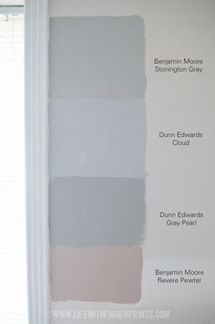 Gray paint samples Gray paint samples Morgan Glynn Save Images Morgan Glynn Life with Fingerprints Determining what gray to paint the bedroom Dunn Ed… – Preteen Indoor Paint Colors, Room Paint Colors, Exterior Paint Colors, Paint Colors For Home, House Colors, Light Grey Paint Colors, Gray Color, Dunn Edwards Colors, Dunn Edwards Paint