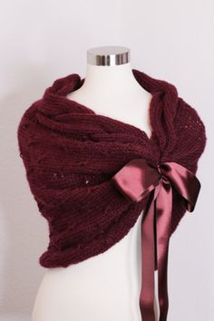 Perfect for wedding gowns, special event dresses, wedding party dresses, Bridal shower gift and accessories custom make knit shawl for you for your wedding day or any upcoming occasion Color shown on the picture #49- Burgundy  Material %10 Mohair %90 Acrylic Lightweight and very soft, not itchy. This shawl fastens with ribbon and ties into a bow. SIZE CHART  XS ► US >2 ♥♥♥♥ UK > 4 ♥♥♥♥ EU > 32 S ► US >4 ♥♥♥♥ UK > 6 ♥♥♥♥ EU > 34 S ► US >6 ♥♥♥♥ UK > 8 ♥♥♥♥ EU > 36 M ► US >8 ♥♥♥♥ UK > 10 ♥♥♥♥…