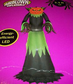 55 ft tall halloween airblown inflatable pumpkin head reaper with lights gemmy http