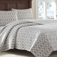 Tommy Bahama Catalina Trellis Grey Reversible 3-piece Cotton Quilt Set | Overstock.com Shopping - The Best Deals on Quilts