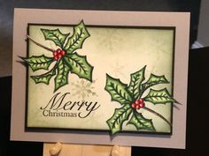 Christmas Card - ClearyGina K. Dashing Stamp Set - Inks:  Versafine Onyx Black, Memento Tuxedo Black, Stampin' Up Soft Sky, Memento Olive Grove, Distress Black Soot - Copics:  G28, G24, G20, R29, R24, E59, E57 - Uni-Ball Signo Broad White Gel Pen - Perfect Pearl Mist - Paper: Gina K. Ivory, Stampin' Up Smoky Slate, The Paper Studio Heavy Weight Black - Inspiration:  http://craftingtheweb.blogspot.com/2016/10/a-jolly-holly-video-and-tutorial.html?m=1