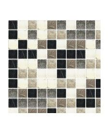 Marble Blk/Wht/Gry Tumbd Mosaic 28x28 Tile