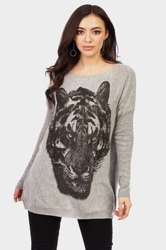 Grey Tiger Face Knitted Jumper