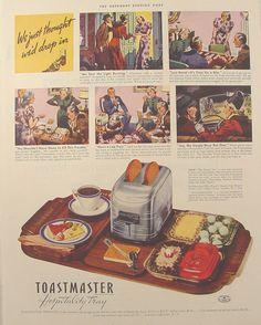 Vintage Ads - 1938 Toastmaster Hospitality Tray Vintage Travel, Vintage Ads, Vintage Posters, Vintage Antiques, Vintage Food, Vintage Stuff, Retro Poster, Retro Ads, Pop Up Toaster