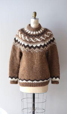 fair isle sweater / vintage 1960s ski sweater / Lerwick wool ...