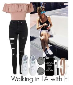 """Walking in LA with Eleanor"" by nuriapinto ❤ liked on Polyvore featuring Calder, Miss Selfridge, Topshop, adidas, Ray-Ban and MAC Cosmetics"
