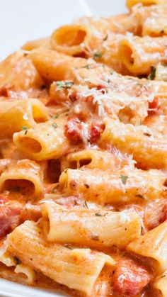 Rigatoni in Blush Sauce with Chicken and Bacon Recipe ~ amazing, so delicious, creamy and cheesy.
