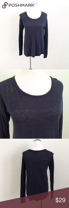 """MADEWELL Navy blue long sleeve Linen Top Gently worn a few times. Lightweight Linen blend shirt. Care tag and fabric tag cut out. Length 25"""". Chest 17.5"""" across. Madewell Tops"""